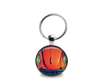 Orange VW Beetle Key Chain or Pendant