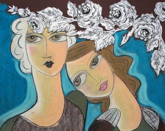 Roses for my darlin- Large Mixed Media original by Samantha Thompson