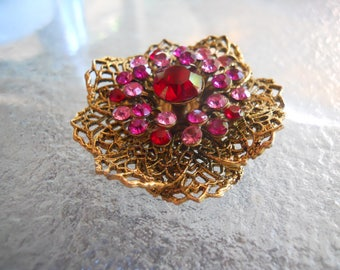 Vintage Brooch with Red and Pink Rhinestones with Layered Filigree