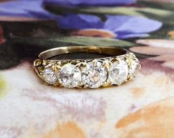 Art Deco Five Stone Wedding Band Circa 1930's Old European Cut Diamond Anniversary Stacking Ring 18k Yellow Gold