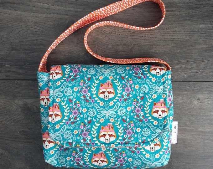 Raccoon Floral Mini Messenger Bag