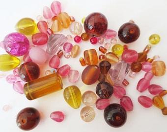 50gr assortment amber pink glass beads