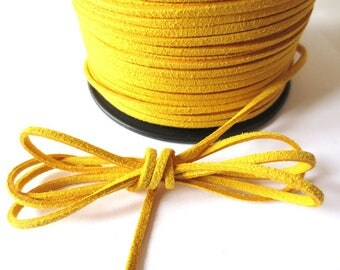1 m x 3mm mustard cord suede