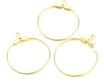10 rings 30mm brass hoop earrings