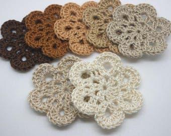 7 flowers crochet Brown 5 cm