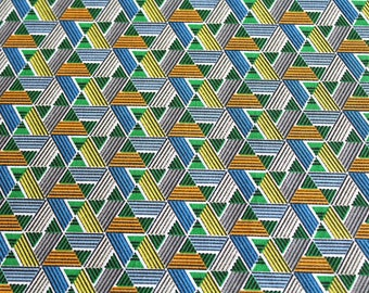 Fabric coupon 50 x 70 cm green and blue wax