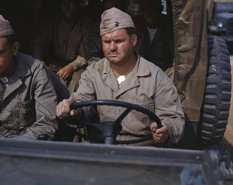Driver of a Marine truck, New River, N.C., WWII Photo in Color, WW2