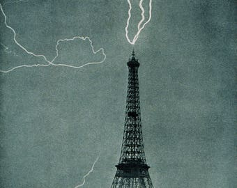 1902 Lightning striking the Eiffel Tower, Paris, France