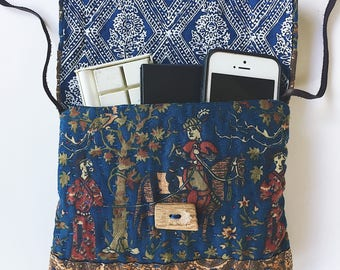 Quilted Kantha handstitched pouch/ bag- wallet, vintage fabrics, cotton, boro, slow stitching, handbag, wood button