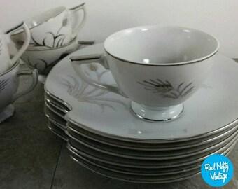 Vintage Lefton Platinum Wheat Mid-Century Tea/Coffee and Saucer Set for 6