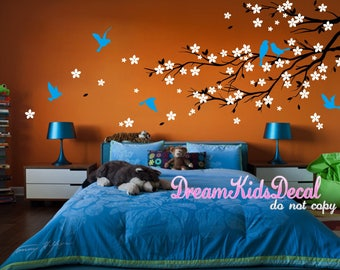 Wall Decals Wall Stickers, Floral Tree branch with birds Decal for Living room, Tree branch decal, Branch Wall Decal-DK087