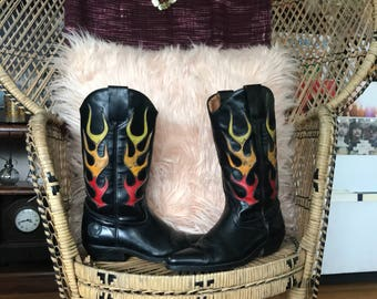 Flaming Leather Cowboy Boots