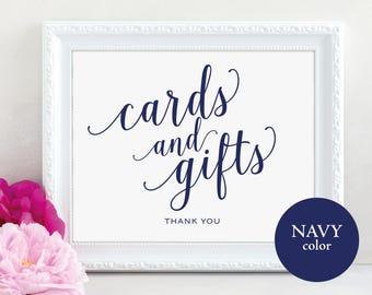 Navy Cards and Gifts Sign, Cards & Gifts Printable, Gift Table Sign, Wedding Printable, Printable Wedding Sign, PDF Instant Download, MM01-4