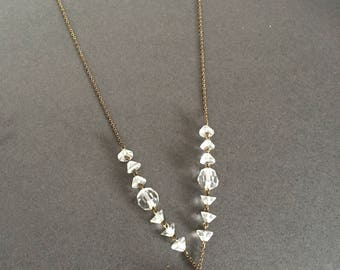 Art Deco Clear Glass Faceted Bead Necklace with gold chain