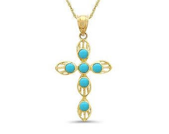 "14k solid yellow gold genuine turquoise cross pendant on an 18"" solid gold chain."