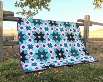 Gingham Girls Quilt Kit, featuring prints from Gloaming by Shelley Cavanna of Cora's Quilts for Contempo Fabrics by Benartex