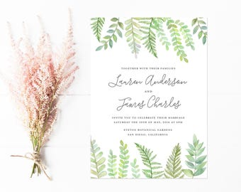 Watercolor Fern Wedding Invitations, Hand Painted Ferns