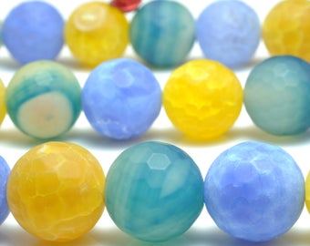27 pcs of Fire agate faceted round beads in 14mm