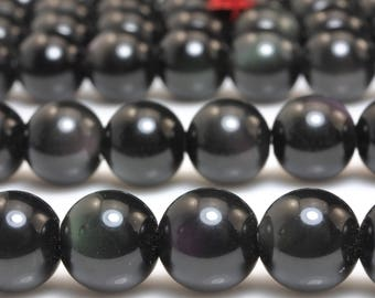 38 pcs of Natural obsidian smooth round beads in 10mm (01050#)