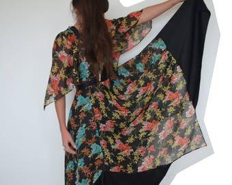Amazing vintage 1970's dress boho hanky hem floral floaty xs/sm AU 8-10 / US 4-6 - vintage clothing