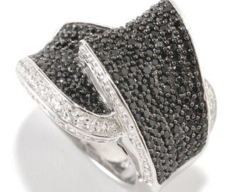 Sterling Silver 2.15ctw Black Spinel Ring SZ 6,7,8