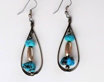 Navajo Sterling Kingman Turquoise Earrings