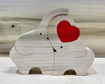 Elephants in Love, Elephant puzzle, elephant, elephant toy, Valentine's Day, I Love You, Love