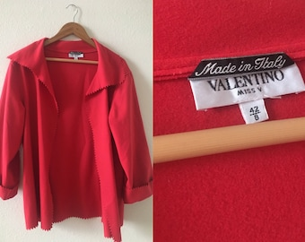 vintage 90's VALENTINO SWING BLAZER - Miss V, small, medium, fire engine red