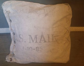 Pillow Made From Vintage Domestic U.S. Mail Bag, Mail Sack, Messenger bag