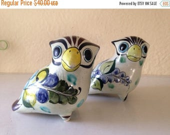 Pair of Matching Signed Tonala Mexico Pottery Ceramic Birds Parrots Mid Century Modern Mexican Home Decor Art CAT 314