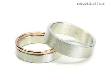 Wedding rings engagement rings 925 Silver with 585 gold filled, ring set, additional ring from gold, frosted silver rings