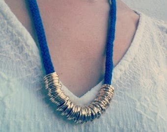 Rope Necklace, Cobal blue rope Necklace, Statement rope Necklace ,cotton cord necklace