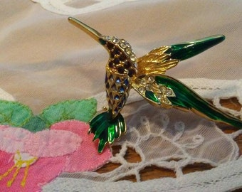 Enamel Hummingbird Brooch