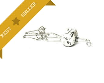 Small Treble Clef Earrings, Dangle Black White Music Earrings, Best Seller