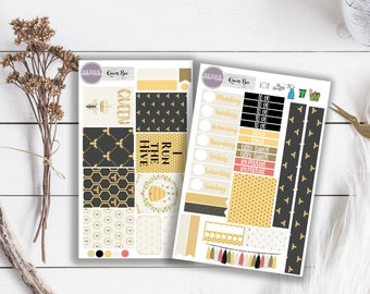 Queen Bee Black and Gold Planner Stickers ECLP Happy Planner