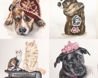 PET PORTRAIT, custom pet portrait, original wedding gift, dog watercolor, dog painting, dog portrait, painting, dog cat portrait painting,