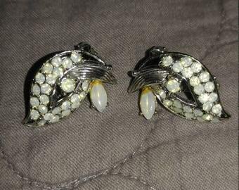 Vintage clip jeweled earrings