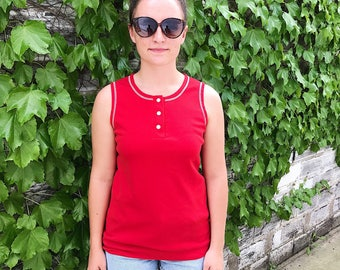 Vintage 70s Tank, Vintage Red Tank Top, 70s Red Tank Top, Alieen Tank, 70s Red Top, Summer Tank, Red Cotton Tank, Wide Strap Button Tank Top