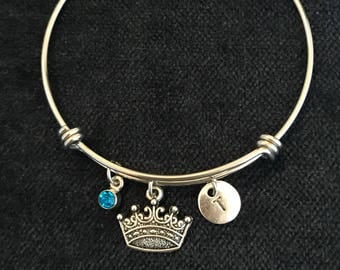 Crown Initial Bangle Crown Initial Bracelet