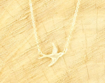 Free as a bird necklace 14k matte gold plated