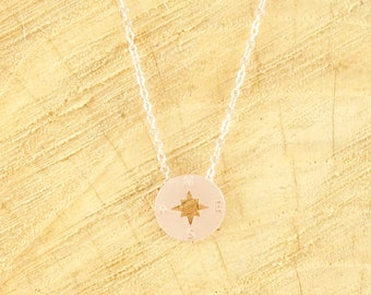 Compass necklace rosegold plated