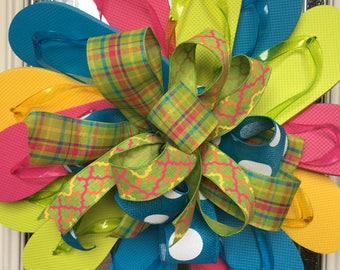 Summer decor, Flip flop wreath, summer wreath, spring wreath, flip flop door hanger, wreath, front door wreath, door wreath