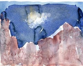 DARK DOLOMITES 2 - Dolomites - Watercolour Original - Fine Art - Mountain Scenery - Landscape Painting - ElizabethAFox