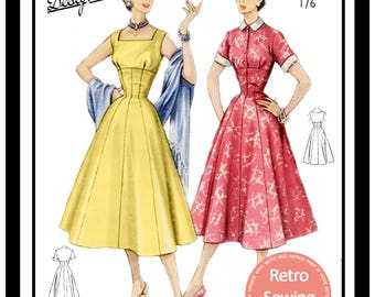 1950s Summer Dress Sewing Pattern - Rockabilly - Paper Pattern