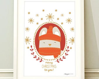Christmas paper - Card little rabbit-simple printed on recycled paper card