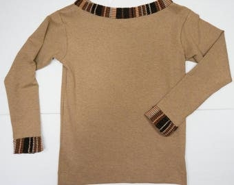 shirt in wool with long sleeves and inserts