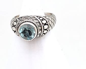 Sterling Silver and Blue Topaz Bali Ring