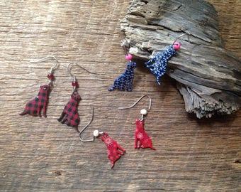 Labrador dog earrings: Labrador retriever plaid earrings, Christmas dog earrings, nautical dog earrings, dog lovers earrings, dog jewelry