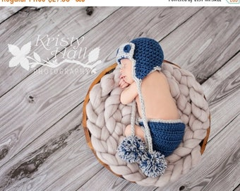 ON SALE 15% SALE Newborn Baby Boy Aviator Outfit - Newborn Baby Boy Hat Aviator  - Photography Photo Prop Set - Newborn Baby Diaper Cover an