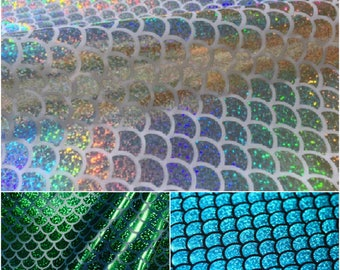MERMAID Scale Fabric Fish Tale Foil Cloth - No Stretch Hologram Material - 115cm wide - 3 colors Silver, Blue, Green
